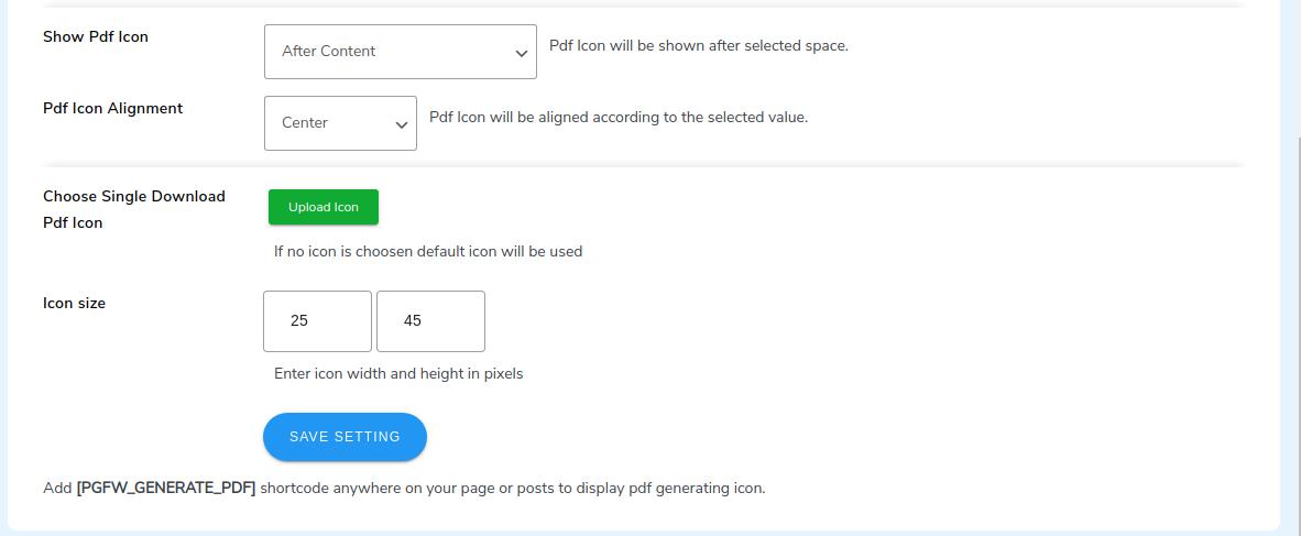 PDF add shortcode