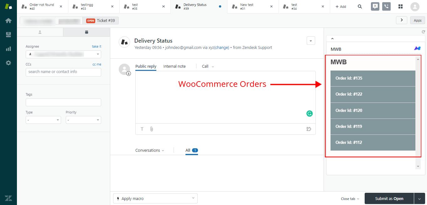 zendesk woocommerce orders