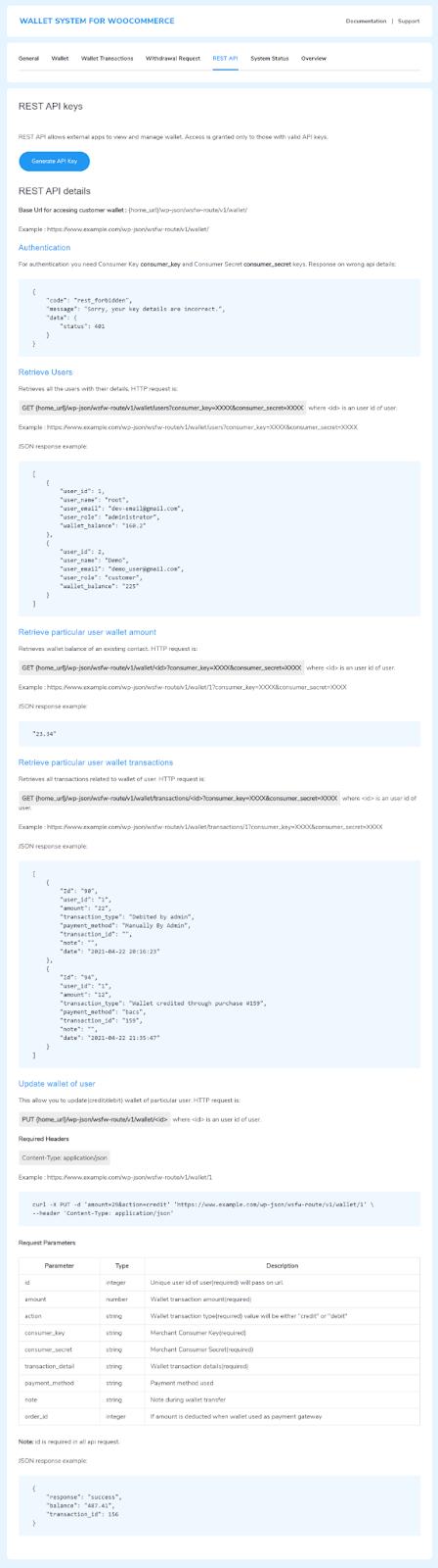 rest API setting