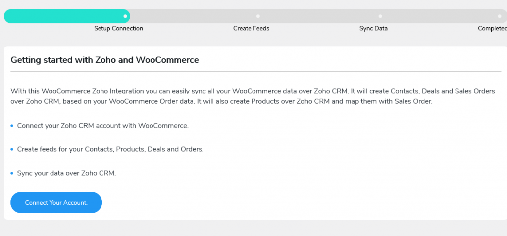 connect woocommerce with zoho