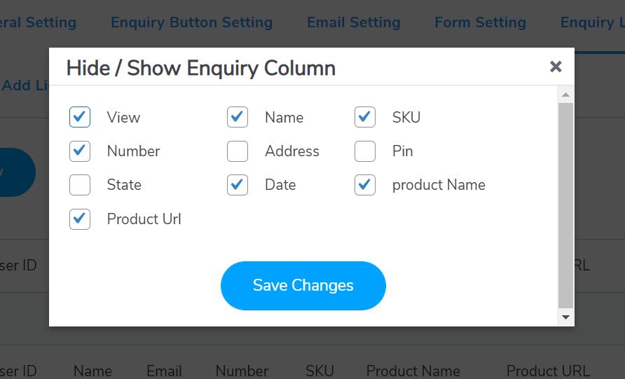 show hide enquiry list table