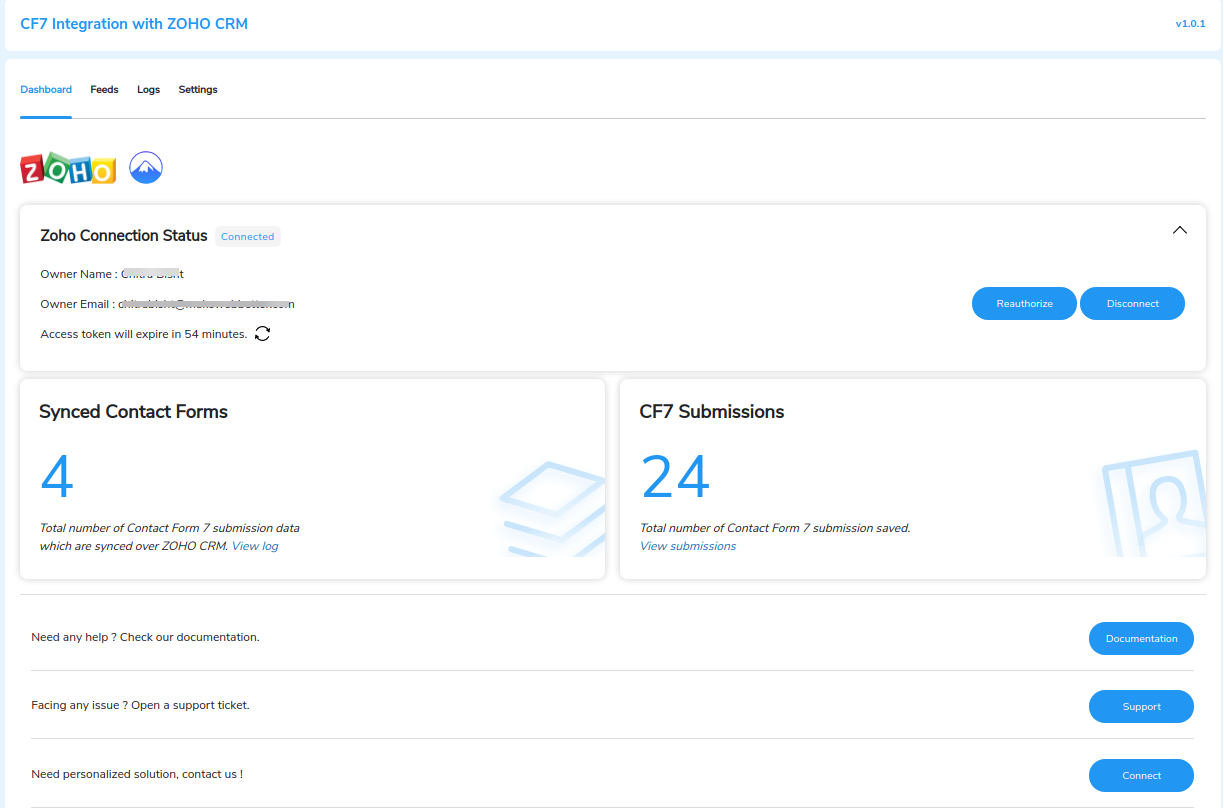 CF7 integration with ZOHO CRM