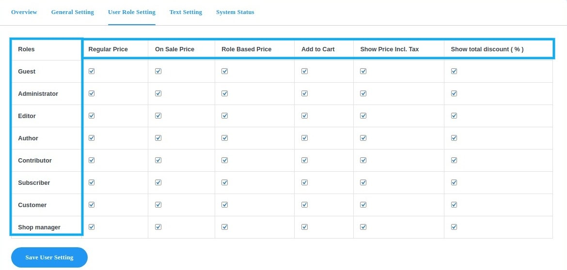 user role pricing setting