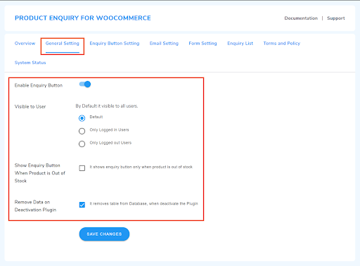 general setting for enquiry plugin