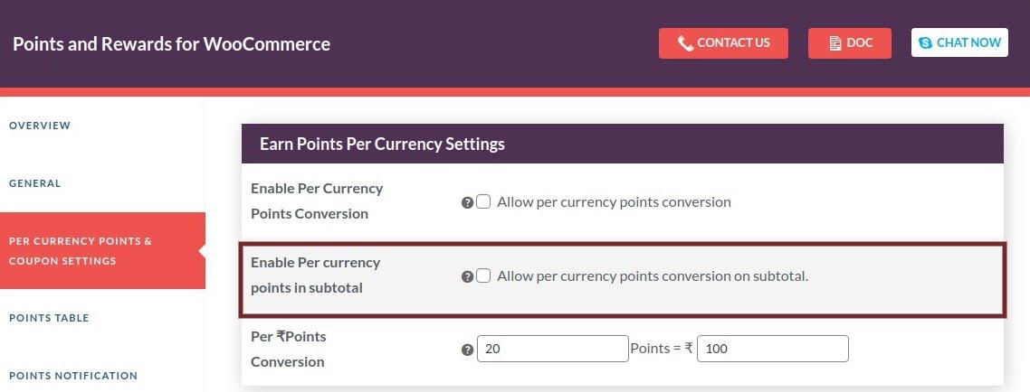 per currency settings