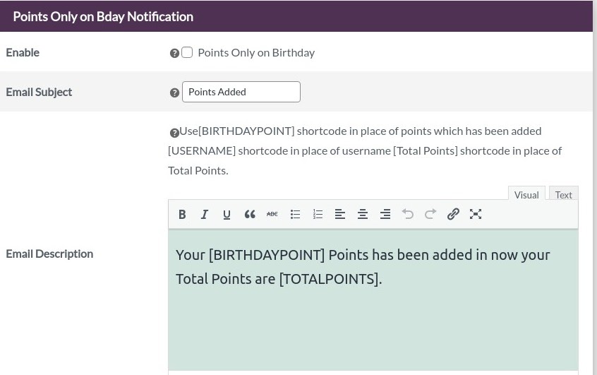 points on bday notification