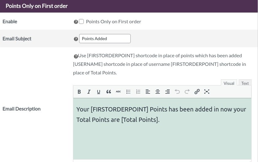 points on first order notification