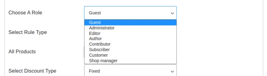 user role options
