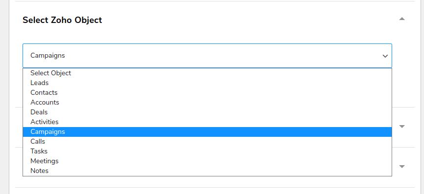 Select Zoho Object