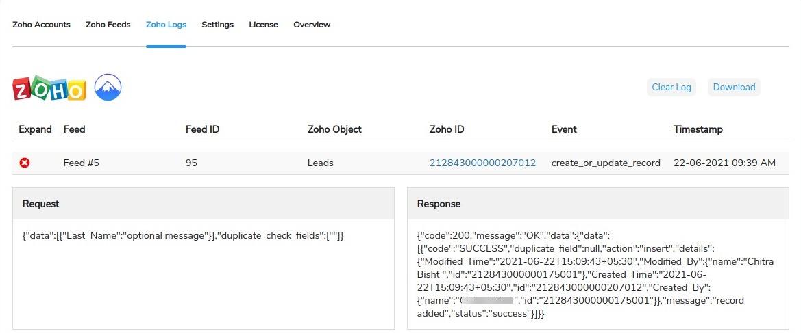 ZOHO log details