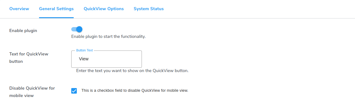 quick view general settings
