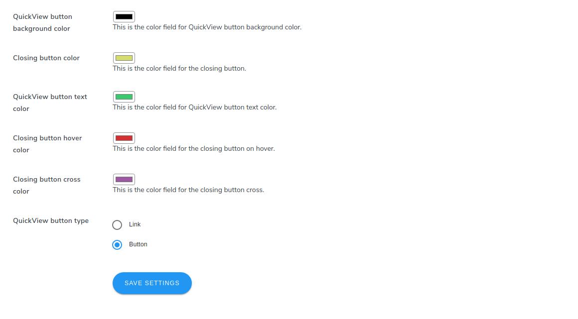 quickview button color settinga