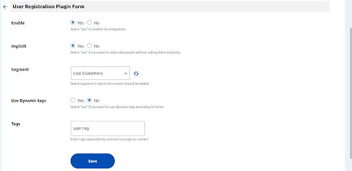 user registration plugin form