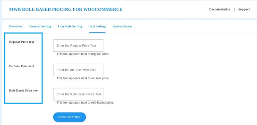 text setting user role pricing