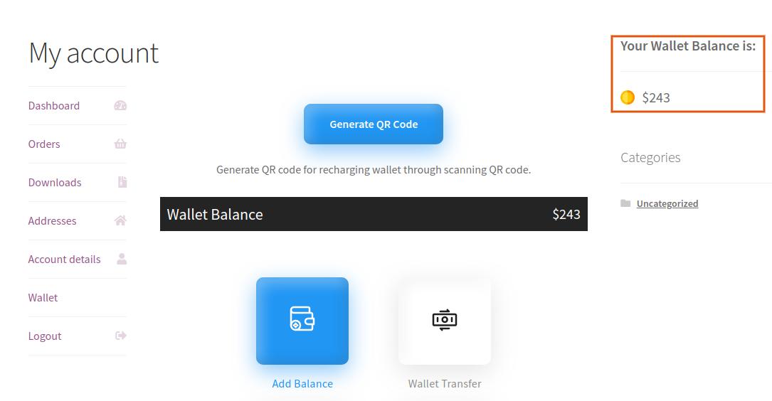 wallet balance widget