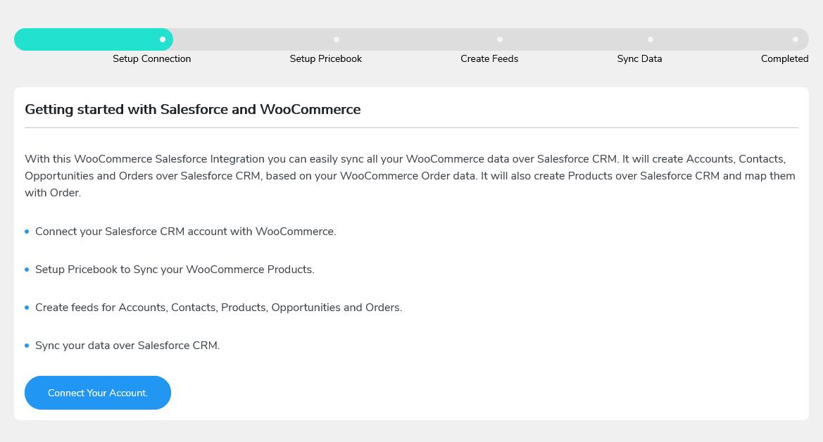 salesforce woocommerce setup screen