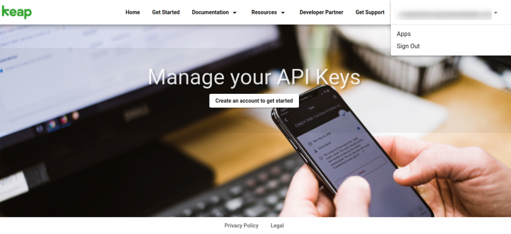 keap manage your api page