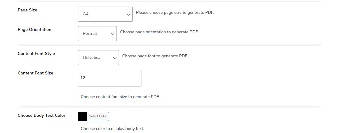 PDF body font