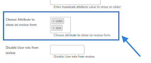 choose attribute to show on reviews