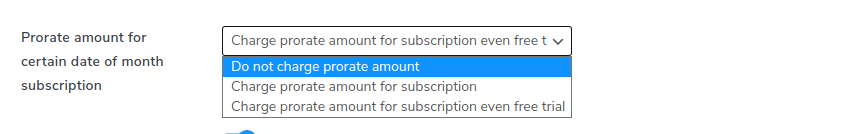 prorate amount for certain date of month subscription