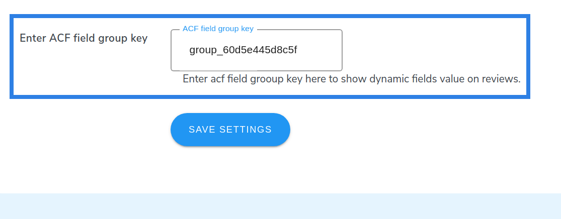 enter ACF field group key
