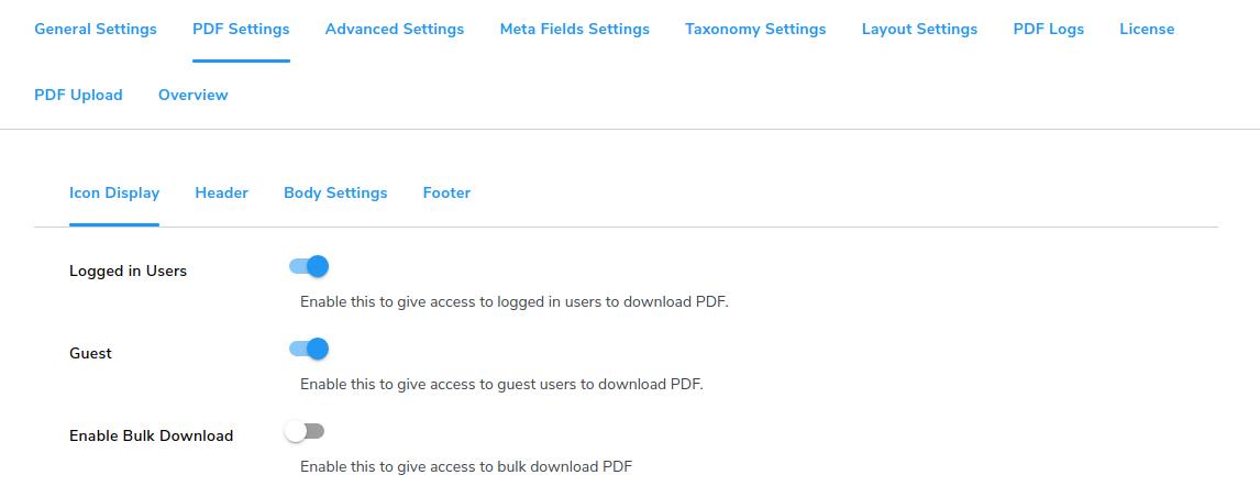 pdf icon setting