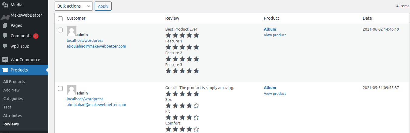manage product reviews