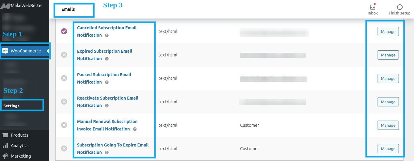 manage woocommerce subscriptions email