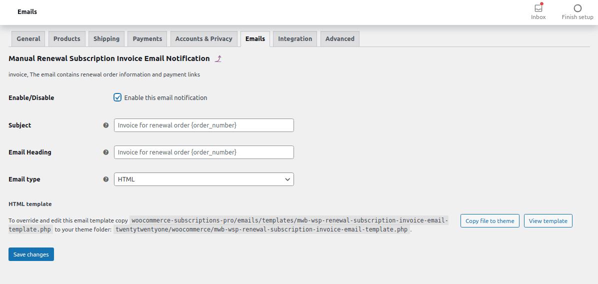 manual renewal subscription invoice