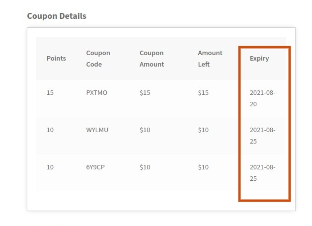 frontend coupon expiry