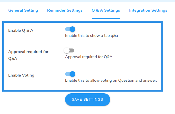 review Q&A settings