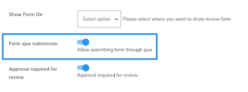 reviews ajax form submission