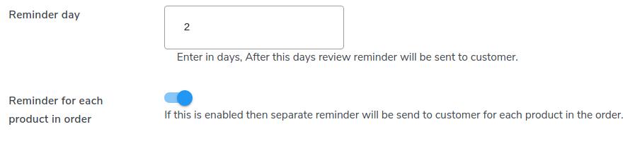 reviews remider settings