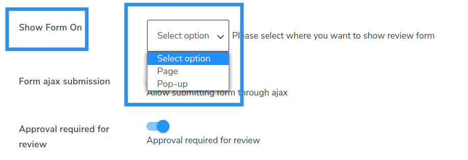 select review form option