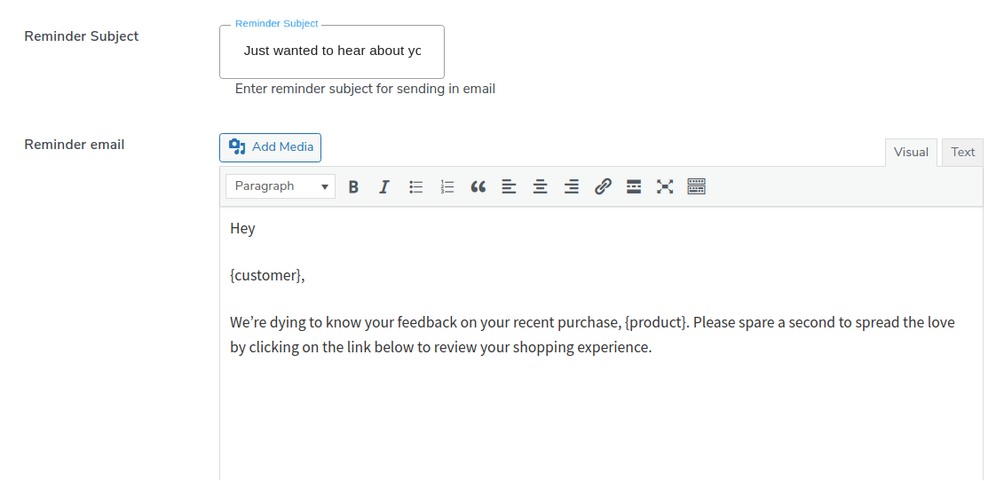 send review reminder email
