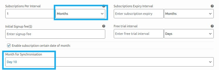 subscription per interval is set to month