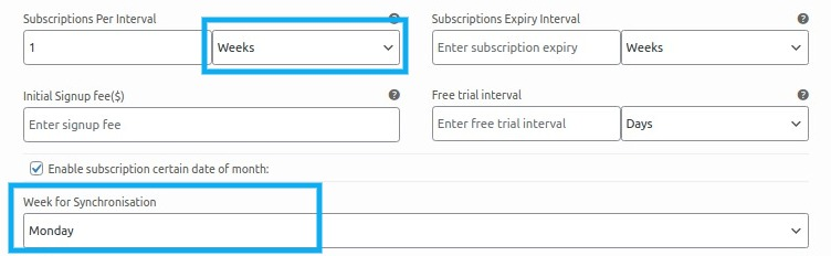 subscription per interval week