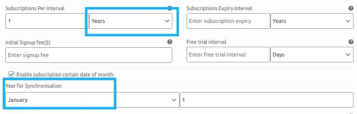 subscription per interval is set to years