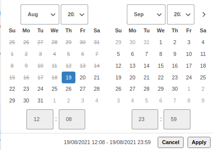bookings date and time picker