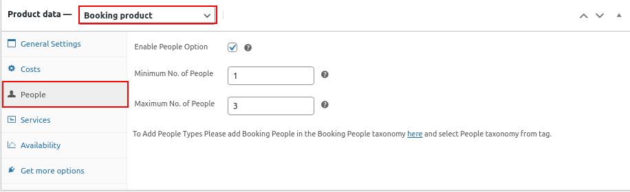 bookings people settings
