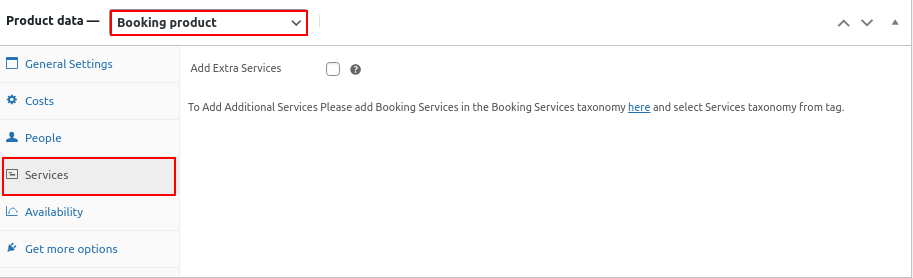 bookings services settings