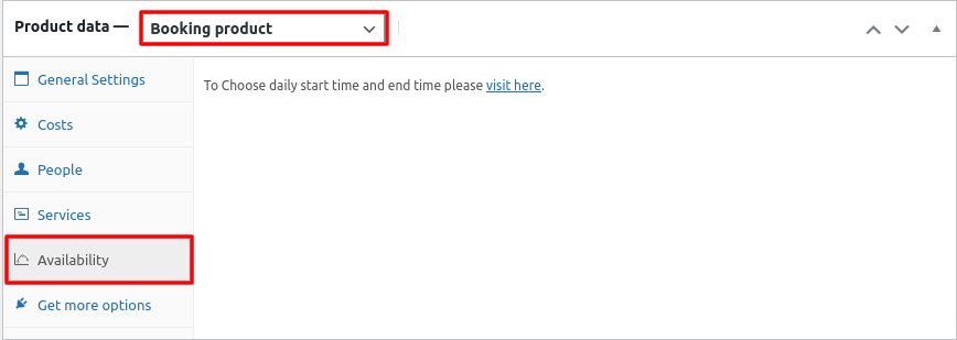 product data availability settings