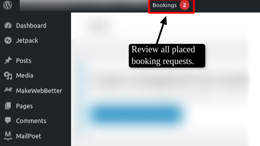 bookings listing panel