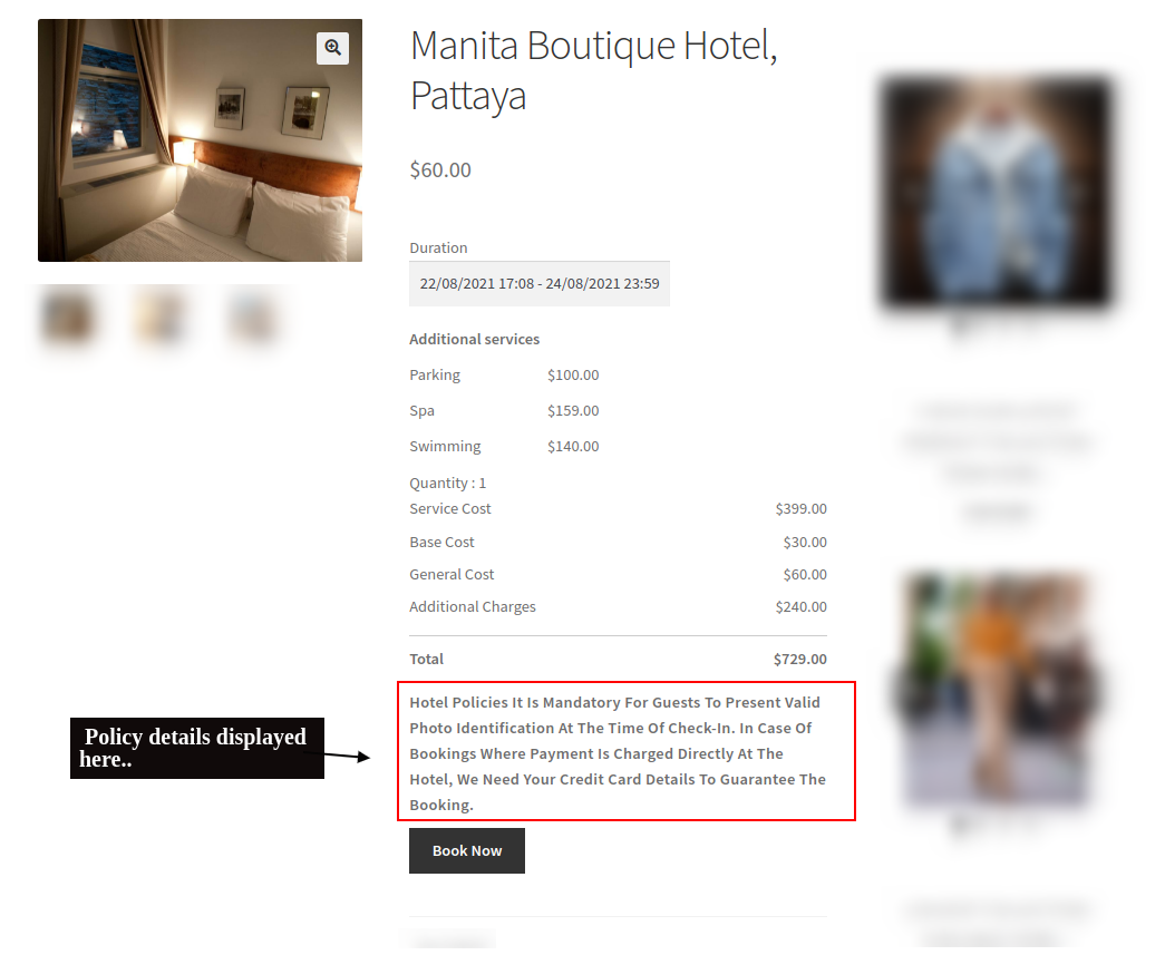 bookings policy display