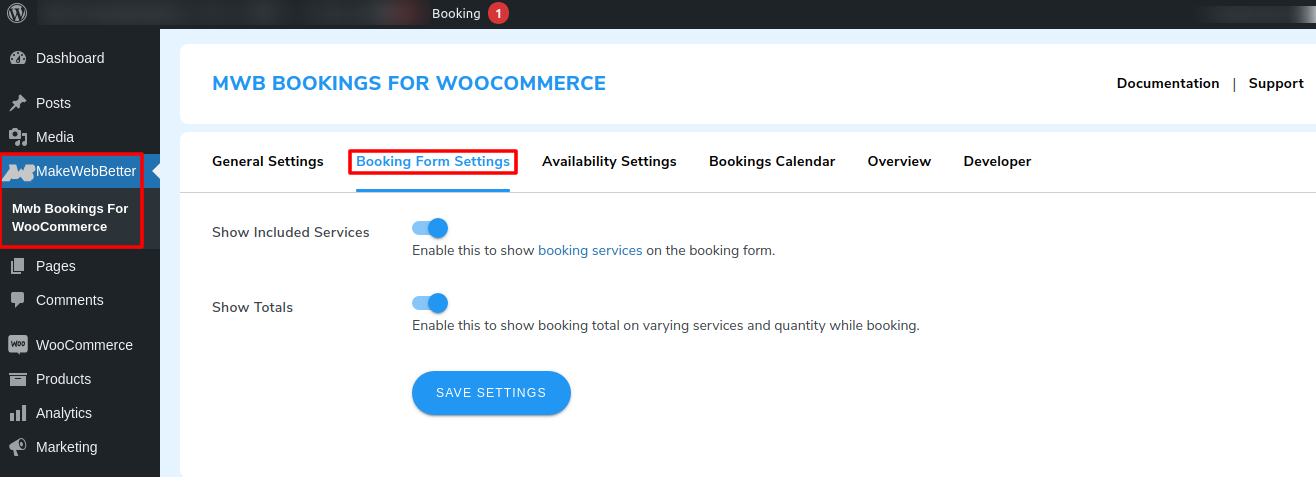 booking form settings