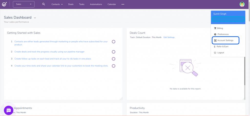 engagebay startup dashboard