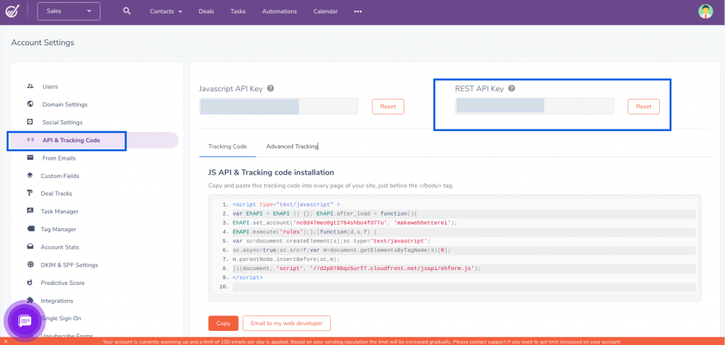 engagebay API dashboard