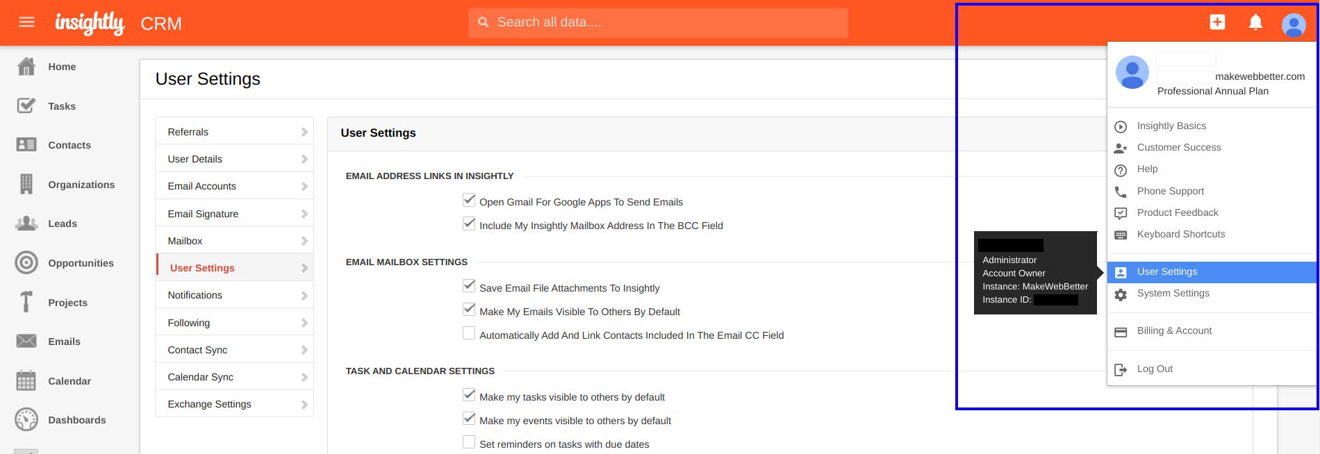 insightly user settings dashboard