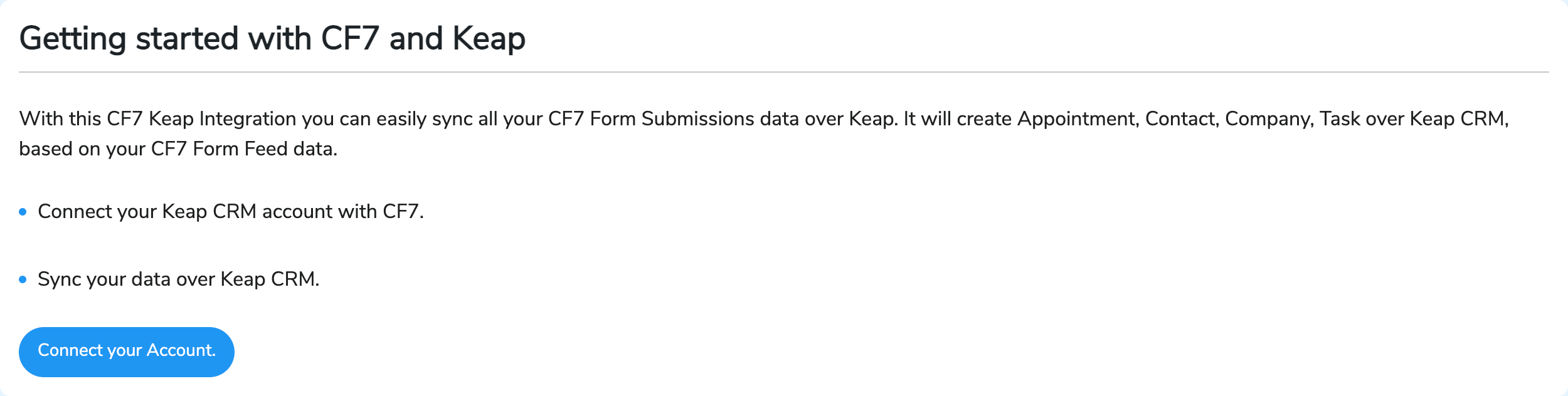 Connecting account with keap