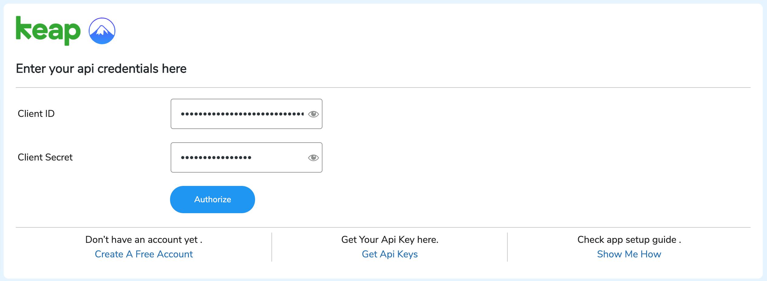 API keys of keap
